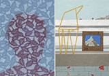 """PHOTOS PROVIDED - Minna Resnick's lithograph and gum print, """"Thicket"""" (left) and Heather Swenson's screenprint, """"Observatory"""" (right) are part of the group exhibition of regional printmakers' work at Main Street Arts."""