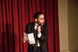 """PHOTO BY MARK CHAMBERLIN - Michael Burgos performed his one-man show, """"The Eulogy,"""" at Writers & Books Thursday evening."""