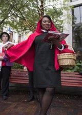 """PHOTO BY ASHLEIGH DESKINS - Mayor Lovely Warren performed in """"Grimms' Mad Tales"""" during the 2016 Rochester Fringe Festival."""