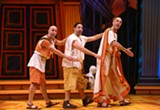 "PHOTO BY KEN HUTH - Mark Bedard as Hysterium, Steve Rosen as Pseudolus, - and James Michael Reilly as Senex in ""A Funny Thing Happened - on the Way to the Forum."" The show is currently on stage at Geva - Theatre Center."