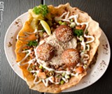 PHOTO BY RYAN WILLIAMSON - Egyptian Delight, a variety of dips and falafel in a fried pita bowl.