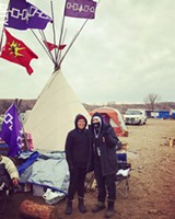 PROVIDED PHOTO - Lauren (left) and Angel Jimerson at camp Haudenosaunee, which is in the Standing Rock Water Protectors' Oceti Sakowin encampment.