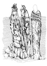 """Three Ancestors,"" an ink drawing by Bill Stephens as part of his show, ""Drawing from Within,"""