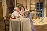 "PHOTO BY DAN HOWELL - Dawn Sargent and Jillian Severin - in ""The Underpants,"" onstage at Blackfriars Theatre - through this weekend."