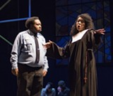 "PHOTO BY NICOLAS SAMPER - Sable Stewart (as Deloris) and Alvin Green Jr. (as Lt. Souther) in the RAPA production of ""Sister Act: The Musical."""