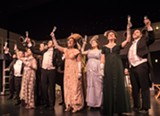 "PHOTO BY STEVE LEVINSON - The first class passengers toast to the voyage during the - JCC CenterStage production of ""Titanic the Musical."""
