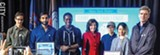 PHOTO BY KEVIN FULLER - Among the winners of the Game Dev Challenge: from left, RIT graduate Evan Anthony of New York City; Waseque Qazi of Buffalo; NYU student Neil Clarke; Lt. Gov. Kathy Hochul; NYU students Janice Ho and Diana Nguyen; and RIT student Nathan Stevens.