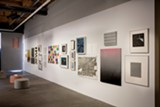 """PHOTO COURTESY DEBORAH RONNEN FINE ART - Installation view of """"Minimal Mostly"""" at R1 Studios, which includes work by Sol Lewitt, Spencer Fish, Mika Tajima, Frank Stella, Amanda Means, and others."""