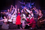 """PHOTO BY AMC PHOTOGRAPHY - Kit Prelewitz (as Esmeralda) and Dylan DeGeorge (as Quasimodo) and members of the cast of """"The Hunchback of Notre Dame."""""""