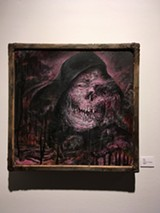 "PHOTO BY REBECCA RAFFERTY - Bile's painting, ""Kept,"" is just one gruesome part of ""Unadulterated Overkill,"" a monster-themed group show at Makers Gallery and Studio Space."