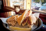 PHOTOS BY RYAN WILLIAMSON - The Len's fried bologna sandwich at Knucklehead Craft Brewing with a Scotch ale.