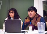 PHOTO BY JACOB WALSH - UR DREAMer students Haydi Torres (left) at a Rochester Committee on Latin America meeting urge Congress to pass DREAMer legislation.