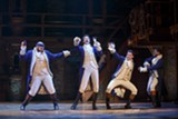 "PHOTO COURTESY JOAN MARCUS - Mathenee Treco, Jordan Donica, Ruben J. Carbajal, and Michael Luwoye in ""Hamilton."""