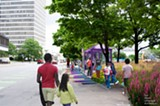 RENDERING COURTESY OF THE CITY OF ROCHESTER. - Plans for the Corridor of Play include interactive sidewalk games along Court Street.
