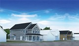 ARTWORK PROVIDED BY IBERO AMERICAN DEVELOPMENT CORPORATION. - Rendering of one of the three-family homes planned for vacant lots in the city's northeast.