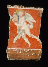 "Unknown 1st Century Roman, ""Fresco Fragment with Cupid Holding a Mask"""
