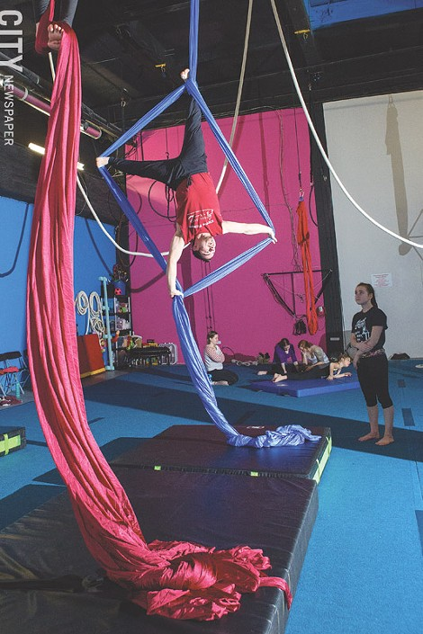 William D'Ovidio (pictured) leads the Aerial Silks course at Aerial Arts of Rochester, a business he operates with his wife, Jennifer. - PHOTO BY JOHN SCHLIA
