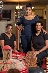 Yeshiwork Mengesha, Herut Tekilu, Alemnesh Mengesha at Abyssinia. - PHOTO BY JOHN SCHLIA