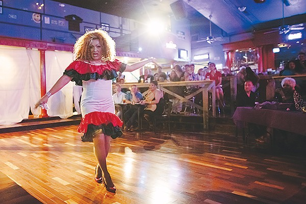 A contestant struts her stuff at SA Country Saloon - JOSH HUSKIN