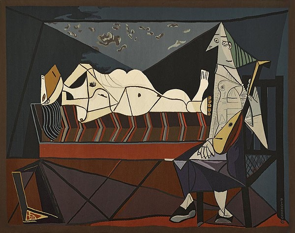 A large-scale tapestries depicting Pablo Picasso's painting L'Aubade