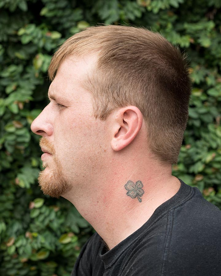 A lucky tattoo on the neck of a contributor - COURTESY