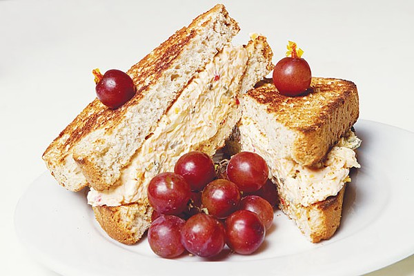 A pimento cheese sandwich with grapes from Tootie Pie. - JOSH HUSKIN