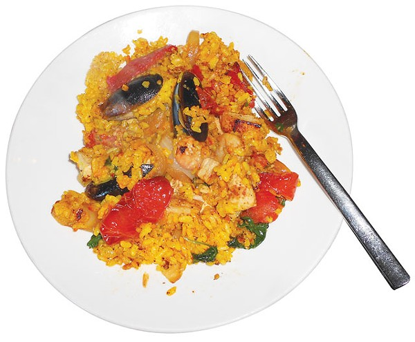 A plate of DIY paella from Citrus at Hotel Valencia. - RICHARD TEITZ