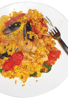 A plate of DIY paella from Citrus at Hotel Valencia.