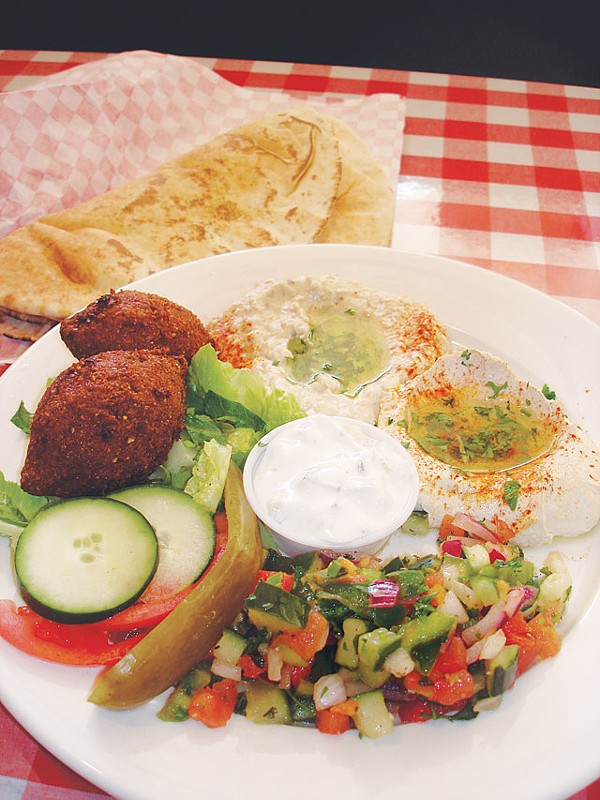 A plate of hot and cold summer treats at Jerusalem Grill. - SCOTT ANDREWS