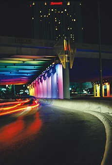 A run-of-the-mill highway underpass is turned into an entertaning light show tunnel.