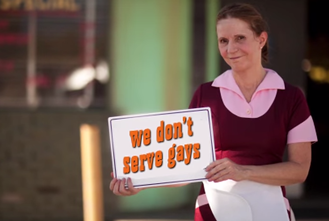 "A still from a parody promotional Indiana tourism video, mocking the anti-gay implications of Indiana's ""religious freedom"" law. - INTERNET ACTION FORCE"