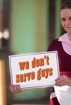 """A still from a parody promotional Indiana tourism video, mocking the anti-gay implications of Indiana's """"religious freedom"""" law."""