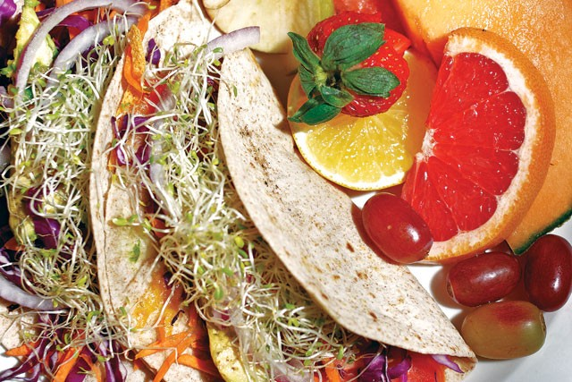 Adelante's veggie tacos - STEVEN GILMORE