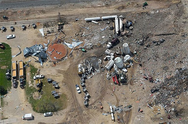 Aerial photo of the west explosion site taken several days after blast (4/22/2013) - PHOTO BY SHANE TORGERSON