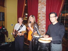 PHOTOS BY BRYAN RINDFUSS - Albert & Extasy (Albert Arguelles, Stacey Mazuca, and Albert A. Arguelles) turn the party on every Sunday (6-10 p.m.) at the Mariachi Bar.