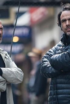 """Alejandro Iñárritu and Michael Keaton on the set of 2014's """"Birdman."""""""