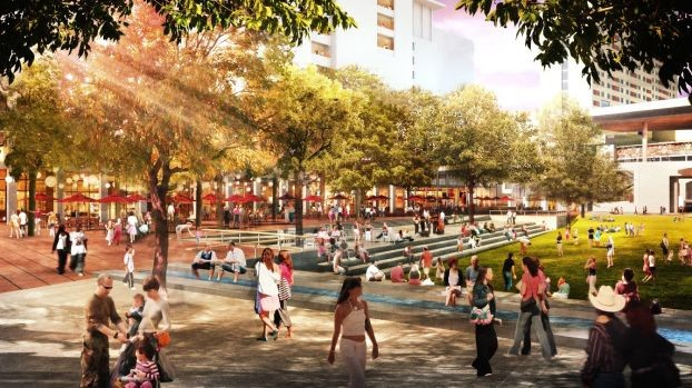 An artistic rendering of the concept for the Civic Park in downtown San Antonio. - PHOTO COURTESY OF HEMISFAIR PARK AREA REDEVELOPMENT CORPORATION (HPARC)