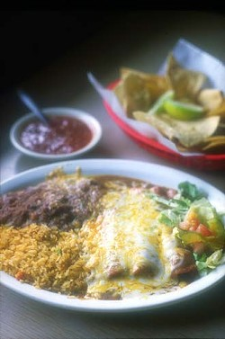 An enchilada combo plate from the Malt House.