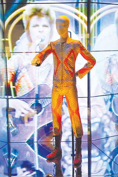 An installation shot from the Victoria and Albert Museum's touring exhibit 'David Bowie Is'