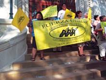 COURTESY PHOTOS - Anti-sweatshop protest at SA City Hall