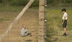 Asa Butterfield (right) bonds with titular concentration camp inmate Jack Scanlon in The Boy in the Striped Pajamas.