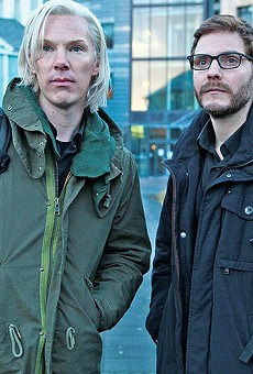 Assange (Benedict Cumberbatch) and Domscheit-Berg (Daniel Brühl) make DC nervous