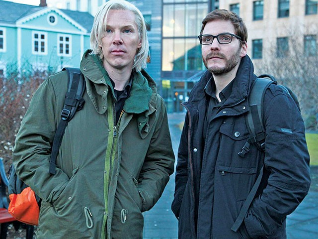 Assange (Benedict Cumberbatch) and Domscheit-Berg (Daniel Brühl) make DC nervous - COURTESY PHOTO