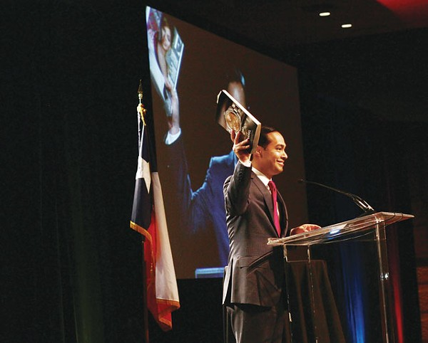 At his State of City address last week, the Mayor Julian Castro held up a copy of Vogue, which profiled him and twin Joaquin in the magazine's March issue. - MICHAEL BARAJAS