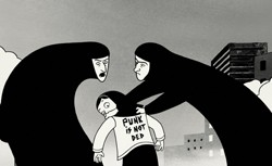 Beat on the brat: Young Marjane Satrapi draws the ire of two Islamic fundamentalists in Persepolis.