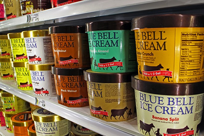 So far, Blue Bell Ice Cream products found in gas stations and grocery stores have not been linked to the bacterial contamination that was a factor in the deaths of three Witchita, Kansas, hospital patients. - COURTESY