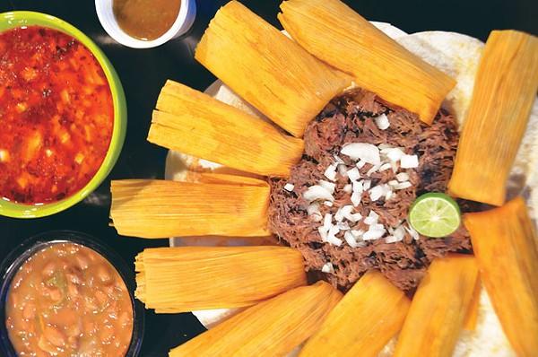Charro beans, menudo, salsa, tamales, and barbaco. - SCOTT ANDREWS