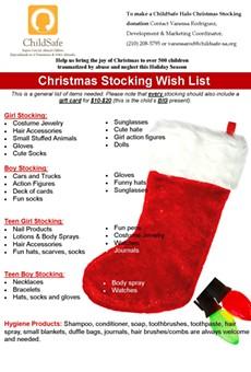 ChildSafe Halos Stocking Gift Drive