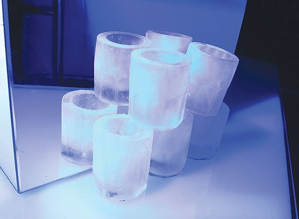 Create your own shot glass igloo at Ice Lounge, but don't be disappointed when it melts into a puddle. - ESSENTIALS210