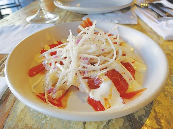 Cured salmon, horseradish and daikon via Peche - MIRIAM SITZ
